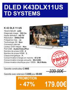 """TV LED 43"""" TD Systems K43DLX11US - 4K UHD, Android TV, HDR10 (Ifs 14)"""