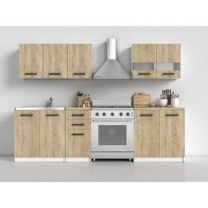 Cuisine Elif finition chêne Sonoma 6 pièces + Plan de travail-3 meubles bas (80cm,40cm,80 cm),3 meubles hauts (80 cmX2,40 cm)(Vendeur tiers)