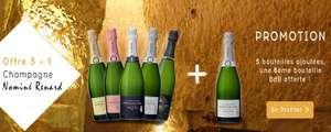 Lot de 5 bouteilles de Champagne Nominé Renard Brut + 1 bouteilles Blanc de Blancs offerte (champagne-terroir.fr)