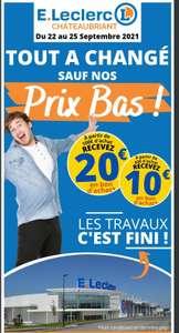10€ crédité en bon d'achat dès 60€ d'achat et 20€ dès 100€ d'achat (Valables dès 50€ d'achat) - Châteaubriant (44)
