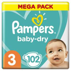 Mega Pack de couches Pampers Baby Dry - Différentes tailles (via 15,95€ sur la carte fidélité + BDR )