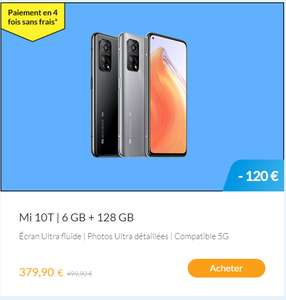"Smartphone 6.67"" Xiaomi Mi 10T 5G - Full HD+, Snapdragon 865, 6 Go RAM, 128 Go, Argent (via ODR 100€)"