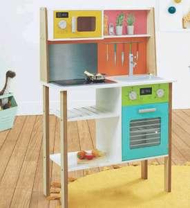 Cuisine en bois pour enfants - Hauteur : 90 cm env. Effets sonores et lumineux, 5 ustensiles et 5 aliments fournis