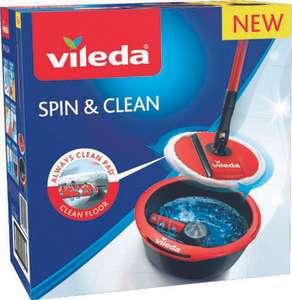 Kit Lavage Spin & Clean - Manche avec tête pliable 100% microfibre + un seau essoreur