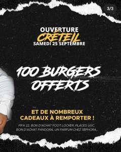100 Burgers et cadeaux offerts - Black And White Burger (Créteil Soleil 94)