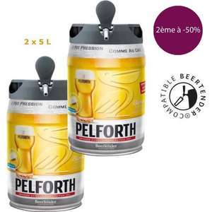 Lot de 2 fûts de bière Pelforth blonde compatible Beertender (2 x 5L)