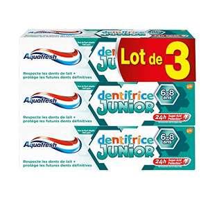 Lot de 3 tubes de dentifrice Aquafresh Junior - Goût Menthe Douce, 75ml (via abonnement)