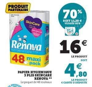 Paquet de 48 rouleaux de papier toilette Renova SkinCare - 3 Plis (via 11,20€ sur la carte fidélité)