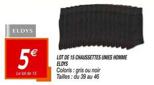Lot de 15 chaussettes homme Eldys - Gris ou noir, Tailles 39 au 46