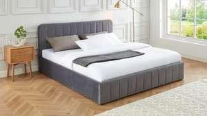 Lit coffre tête de lit + sommier à lattes Elle Décoration Ava - 180x200cm, en velours gris