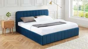 Lit coffre tête de lit + sommier à lattes Elle Décoration Ava - 180x200cm, en velours, différents coloris