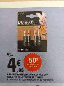 Pack de 4 Piles Rechargeables Duracell AAA (750 mAh) ou AA (1300 mAh) - PACA