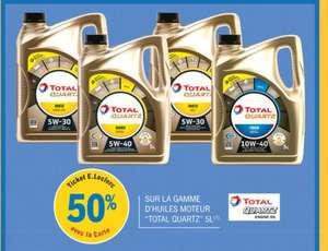 50% remboursés sur la carte de fidélité sur la gamme d'huiles moteur Total Quartz 5L