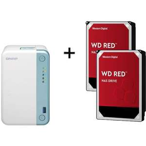 Serveur de Stockage NAS QNAP TS-251D-2G (2 Baies) + 2 Disques Durs Western Digital WD RED (2x 2 To)