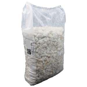 2 Sacs de Graviers de marbre blanc calibre 10/20 mm - 25 Kg soit 0,13€ le kg