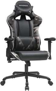 Fauteuil Gaming Songmics RCG47BG - Inclinable à 135°, Accoudoirs & assise réglables, Coussins lombaire et cervical inclus