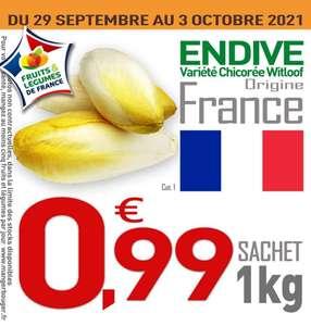 Sachet d'endives catégorie 1 - 1 kg (Origine France)