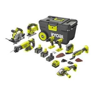 Maxi Pack 8 machines Ryobi 18V One+ + 2 batteries Li-Ion 5Ah + 1 batterie Li-ion 2Ah + Chargeur + Coffret de transport