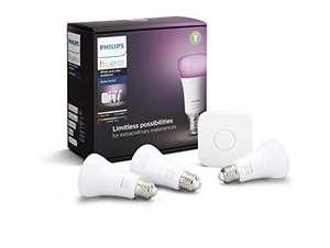Kit De Démarrage Philips Hue Blanc & Color avec 3 ampoules E27 LED BT + Pont de Connexion (Occasion comme neuf)