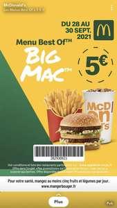 Menu Best Of à 5€ (Big Mac, Filet-O-Fish, McChicken ou 6 Chicken McNuggets) - en restaurants participants