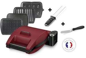 Gaufrier Lagrange Premium rouge 4 plaques (Croque, gaufre, gaufrette, gril), Pic et spatule