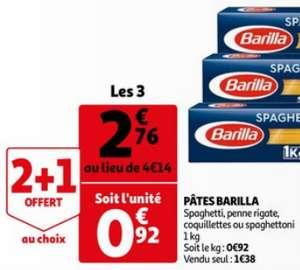 Lot de 3 paquets de 1 kg de pâtes Barilla - 4 variétés au choix (3 × 1 kg)