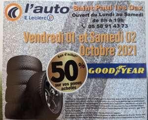 50% offerts en bon d'achat sur les pneus Goodyear (hors promotions) - St Paul les Dax (40)