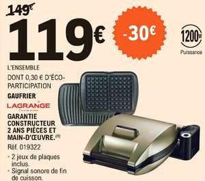 Gaufrier Lagrange - 1200W, 2 jeux de plaques inclus