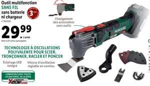Outil multifonction sans-fil Parkside - 20V avec Accessoires (Sans Batterie/Chargeur)