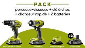 Pack perceuse visseuse Ryobi One+ R18DD3-0 + 1 visseuse à chocs RID1801M 18V + chargeur + 2 batteries 2.0A