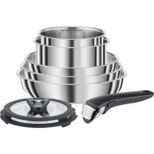 Set 8 pièces inox Seb Compact L953S804 - 3 poêles (22/24/26cm), 2 casseroles (16/18cm), 2 couvercles en verre, 1 Poignée (Tous feux)