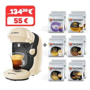 Cafetière à capsules Bosch Tassimo Style + lot de 12 paquets de café Tassimo T Discs