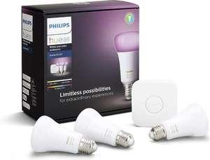 Kit De Démarrage Philips Hue White & Color Ambiance avec 3 ampoules E27 LED + Pont de Connexion