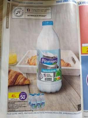 Lot de 2 packs de 6 bouteilles de lait demi-écrémé Pâturages - 12 x 1L