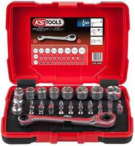 """Coffret de douilles traversantes KS Tools 918.3050 - 5 à 14mm, embouts de vissage 1/4"""", Tête inclinée à 15°, 32 pièces"""