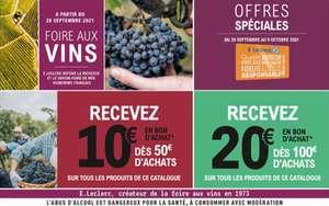 10€ offerts en bon d'achat dès 50€ d'achat sur le catalogue de la Foire aux Vins ou 20€ offerts en bon d'achat dès 100€ d'achat