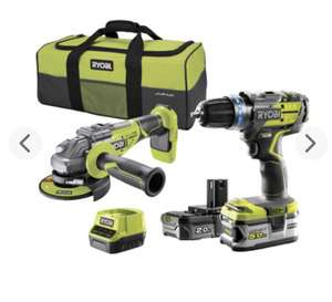 Pack Ryobi One+ 18V Brushless R18CK2BL-252S : Perceuse à percussion + Meuleuse Ø125 mm + 2 batteries 5Ah + Chargeur + Sac