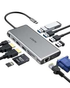 Hub USB-C Aukey CB-C78 12-en-1 - Gigabit Ethernet, Dual 4K HDMI, VGA (aukey.com)