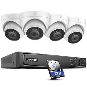 Système de surveillance ANNKE H800 PoE 8CH - 4 Caméras 4K 8MP IP67 + Enregistreur vidéo NVR + Disque dur 2 To + Accessoires