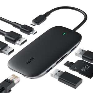 Hub USB-C Aukey 8-en-1 CB-C71 - Ethernet Gigabit, USB-C HDMi 4K, USB 3.0, SD et Micro SD (aukey.com)