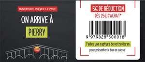 Coupon de 5€ de réduction dès 25€ d'achat - Pierry (51)