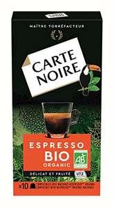 Lot de 100 capsules de café (10 Paquets de 10 capsules) Carte Noir Expresso Bio - Compatible Nespresso