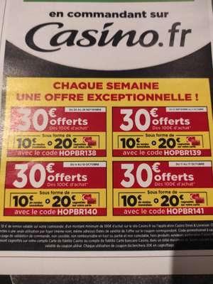 30€ de réduction dès 100€ d'achat (via 20€ fidélité)