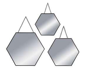 Lot de 3 miroirs hexagonaux métal à suspendre