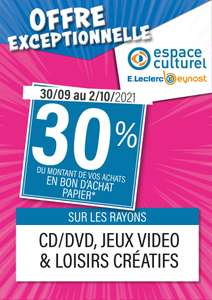 30% offerts en bon d'achat sur les rayons Jeux-Video, CD/DVD & Loisirs créatifs - beynost (01)