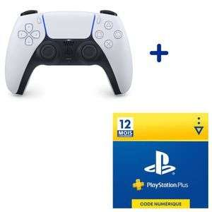 Pack PlayStation - 1 Manette PS5 DualSense Blanche + Abonnement de 12 Mois au PlayStation Plus
