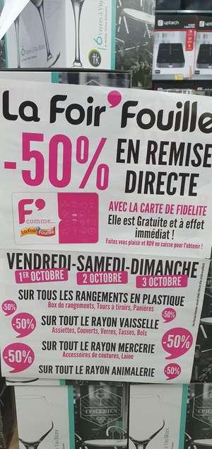 50% remise fidélité sur les rayons vaisselles, boite de rangement, mercerie et animalerie - Mareuil les meaux (77)