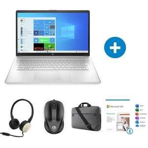 """PC Portable HP 17.3"""" HP 17-cn0354nf (HD+, i3-1115G4, 8 Go RAM, 512 Go SSD, W10) + Souris + Casque + Sacoche + Microsoft 365 1 An"""