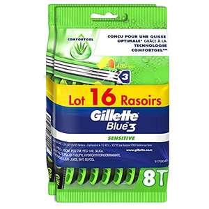 Lot de 16 Rasoirs Jetables Gillette Blue 3 Sensitive