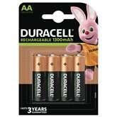 Lot de 4 piles rechargeables Duracell AA/LR06 1300mAh ou AAA/LR03 750mAh (Sélection de Magasins)